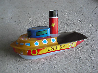 "Tin Treasures Tug USA Tin Pop Boat 7"" Long"
