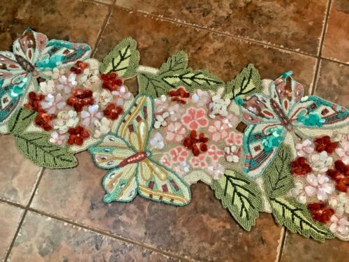"""Pier 1 Imports Beaded Floral Butterfly 3D Table Runner Spring 13"""" x 35"""" NWT"""
