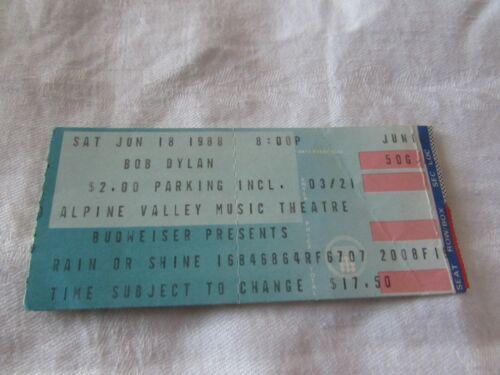 VTG 1988 Bob Dylan CONCERT TICKET STUB Alpine Valley Theatre Budweiser sponsored