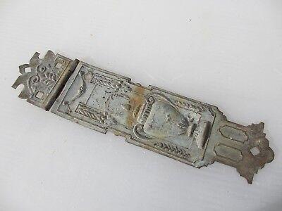Antique Brass Hinge Bracket Old Hardware Urn Drapes Floral Husks Vintage Old