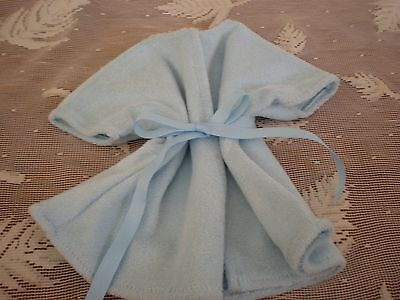 fits American girl & bitty BABY ALIVE  DOLL CLOTHES  med blue TERRY ROBE BABY
