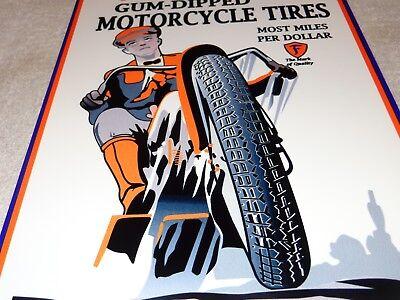 "VINTAGE FIRESTONE GUM DIPPED MOTORCYCLE TIRES 12"" BAKED METAL GASOLINE OIL SIGN!"