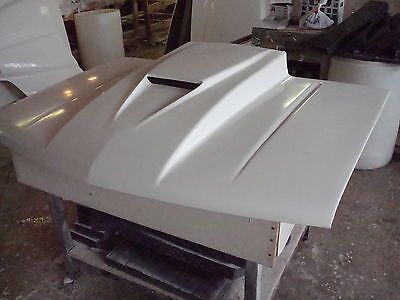 Fiberglass  4 inch cowl SVO RAM AIR  Bolt-on Chevy truck Hood  (Fiberglass Truck Hoods)