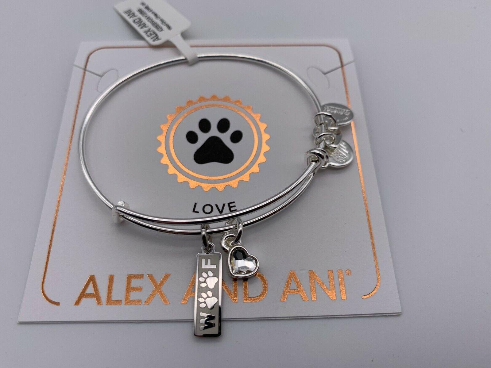 NEW Alex and Ani WOOF DUO CHARM DOG Shiny Silver Charm Bangl