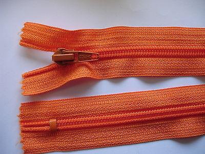 2 Stück Reißverschluß REA orange  24cm lang, nicht teilbar Y90