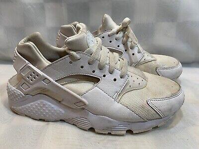NIKE Air Huarache Run GS Shoes Size 7Y White Pure Platinum 654275-110