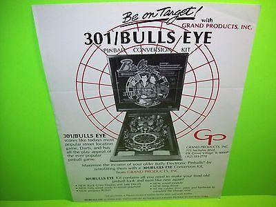 Grand Products 301/BULLSEYE Original 1984 Flipper Game Pinball Machine Flyer