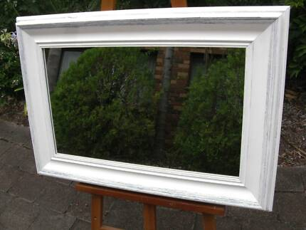 The Hamptons Wall Mirror Shabby Chic Aged White Timber Frame