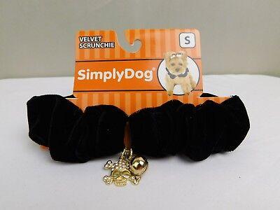 Black Dog Halloween (Halloween Rhinestone Skull Velvet Scrunchie Collar Dog Costume Black Small)