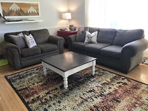 Sofa, loveseat, coffee table and rug for sale