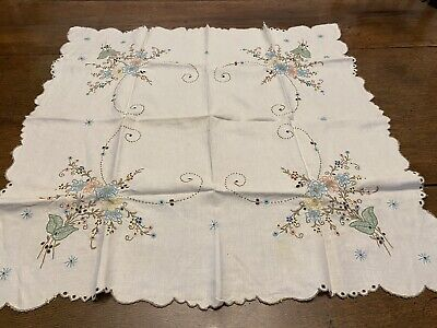 Art Deco 1920s Drawn Silk Cotton Embroidery Tablecloth Flapper Dinner Tea Party