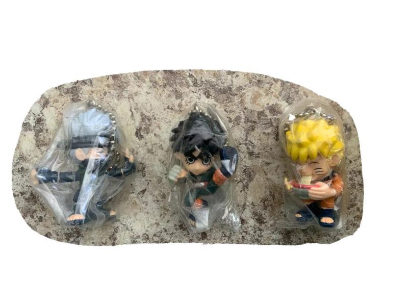 Naruto Key Chain Naruto Eating Ramen + BONUS (Kakashe & Rock) EXTREMELY RARE HTF
