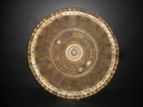 OLD AFRICAN SHIELD FROM ETHIOPIA, XIX ° th, SKIN DECORATED WITH BRASS, VERY NICE