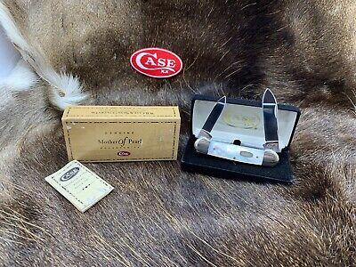 1996 Case XX Shield Canoe Knife Mother of Pearl Knife Mint Velvet Box - 6D