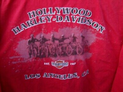 "Vintage Harley Davidson Hollywood Los Angeles Calif. Size XXL 50"" chest Red"
