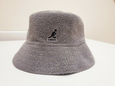 New Authentic Kangol Grey Black Embroidered Logo Bucket Boucle Bermuda Hat L/XL