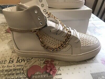 Versace EU 45 UK 10 11? White Gold Studded Trainers Men's NEW High Tops Palazzo