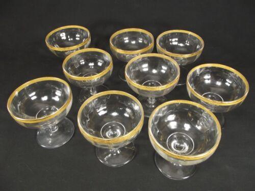 Vintage TIFFIN Franciscan lot Clear Crystal Glasses Gold Encrusted Rim 9 TOTAL