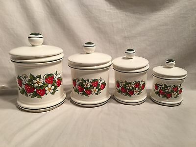 VINTAGE Sears Strawberry Country Kitchen Canister Set Set Of 4~ EUC!