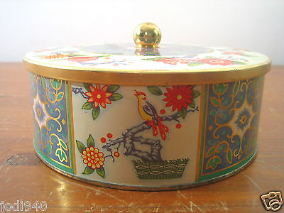 Daher Round Tin Metal Container Lid England Birds Floral Asian Red Blue Yellow