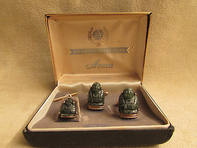 Vintage Genuine Jade Buddha Tie Tac And Cuff Links Set