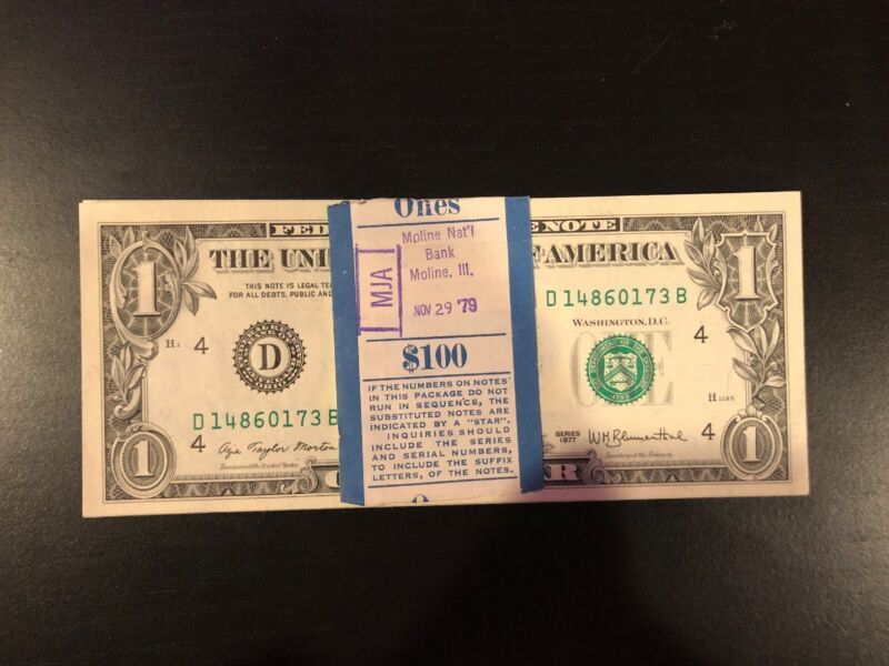 1977 One Dollar ($1) Bill Uncirculated Consecutive Sequential BEP Wrap - 1 Note