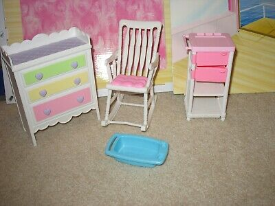 Lot of Barbie Baby Nursery Furniture Changing Table Rocking Chair Cart Bath