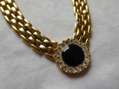 """Christian Dior vintage RHINESTONE NECKLACE gold plated 17 1/2"""" link chain Repair"""