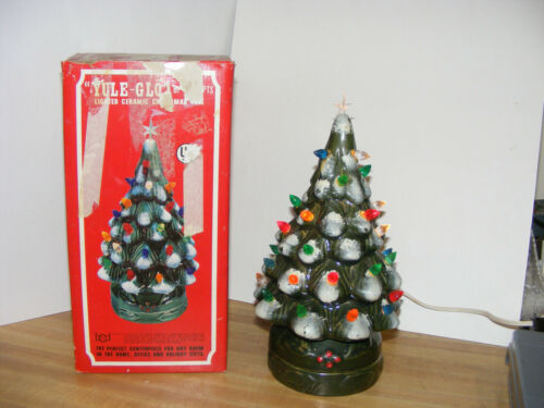 Yule-Glo Vintage Lighted Ceramic Christmas Tree In Box