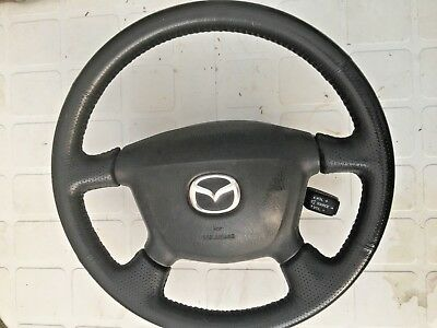 MAZDA 323F 2002 STEERING WHEEL WITH AIRBAG - LEATHER - VGC