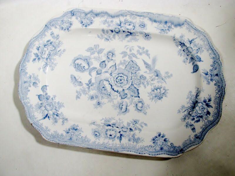 "Antique Staffordshire Ironstone Asiatic Pheasant Blue 14 5/8"" Platter"