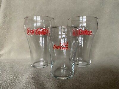 Vintage Coca-Cola Drinking Glasses Red Lettering Set of 3 (2 5-Inch, 1 4-Inch)