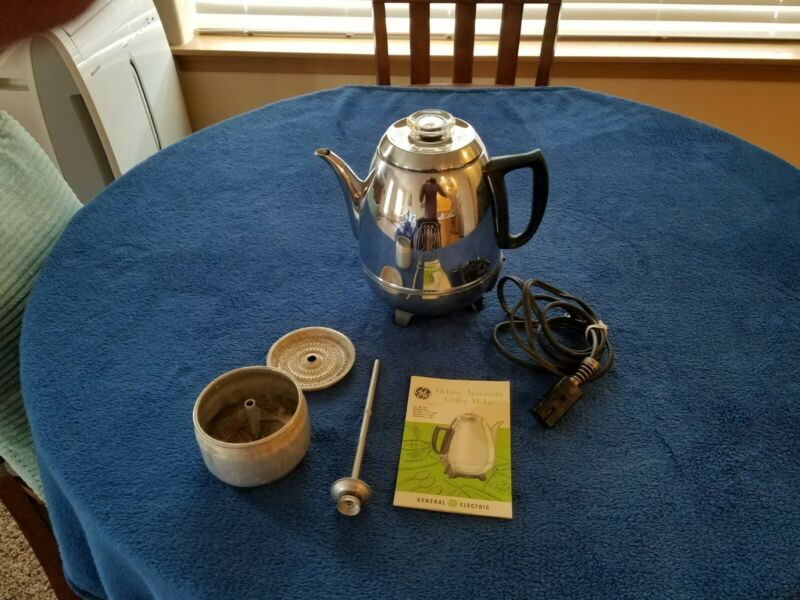 Vintage General Electric Percolator 68P40 Pot Belly Chrome Coffee Maker GE
