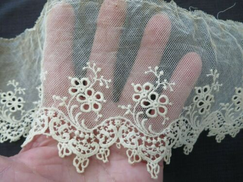 Antique Vtg French Tambour Net LACE Schiffli Edge 4X20 Doll Dress Bonnet Trim