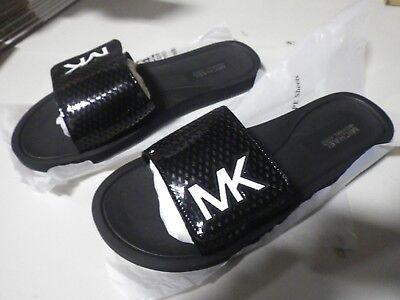 Michael Kors Black Sandals (Michael Kors MK Slide Lasered Black Slip On Sandals Size 8 Brand New in)