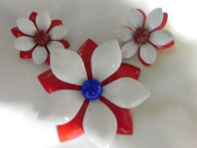 vintage metal porcelain flower pin brooch clip on earrings red blue white lot