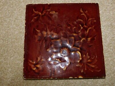 HENRY OLLIVANT OF CLIFFE VALE BROWN FLORAL TILE