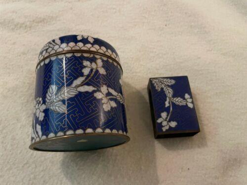Vintage Brass + Enamel Chinese Cloisonne Jar with matching Vesta Matchbox Holder