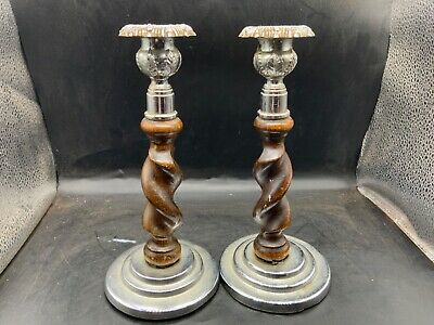 VINTAGE PAIR OAK WOODEN BARLEY TWIST CANDLESTICKS - CHROME STEPPEDBASE