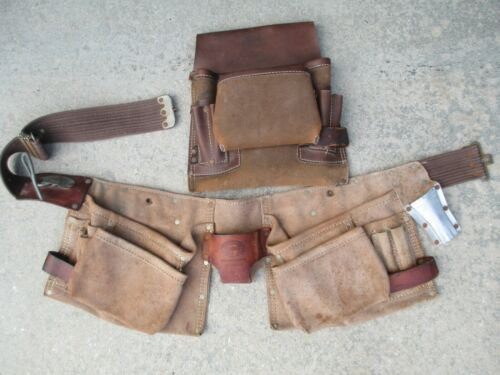 Vintage Nicholas 490X cowhide tool belt pouch and a smaller leather tool pouch