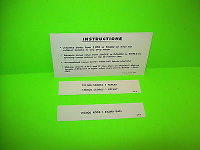 Williams Triple Action Original NOS 1974 Pinball Machine Instruction Score Card