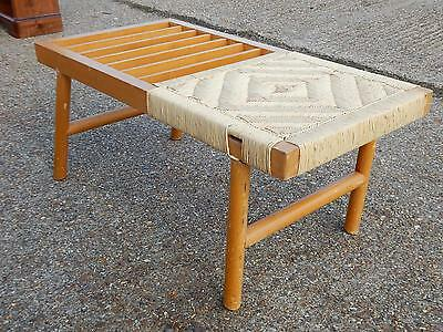 Vintage beech side /end table with crochet rope work & magazine / paper rack top