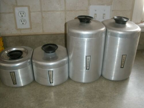Vintage Aluminum Large Canister Set of 4 Flour Sugar Coffee Tea
