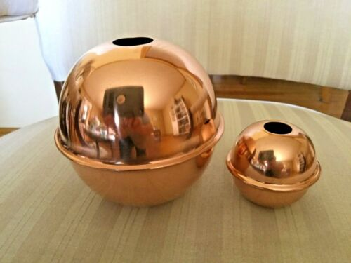"""SET OF 2 POLISHED COPPER BALLS FOR A WEATHERVANE - 4"""" and 2 1/4"""""""