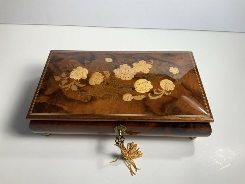 Vintage Wooden Inlaid Music Box with Key Made In Italy Torna A Sorrento Floral