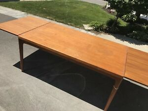 TEAK DINING ROOM TABLE + CHAIRS