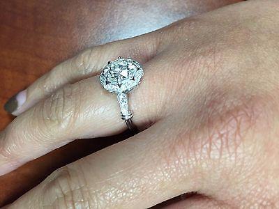 2.48ct Round GIA Certified Vintage Platinum Diamond Engagement Ring 6