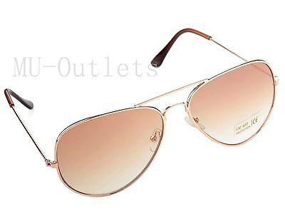 New Classic Aviator Fashion Sunglasses For Men's Women's Retro (Gold-Brown)