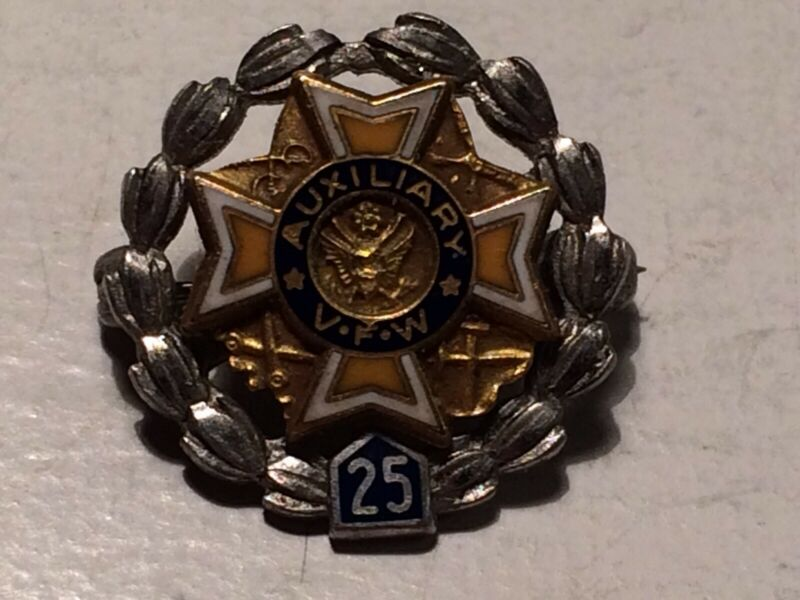 VFW Auxiliary 10K Gold & Sterling Silver Pin 25 Year