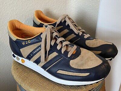 Adidas Originals Mi LA Trainer Blue Tan Leather Lace Up Sneakers Shoes Mens 11